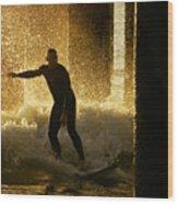 Surfing The Dawn Wood Print