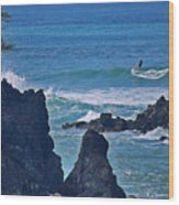 Surfing The Rugged Coastline Wood Print