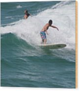 Surfing The White Wave At Huntington Beach Wood Print