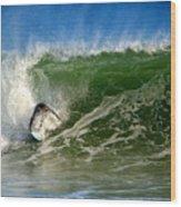Surfing The Winter Atlantic Wood Print