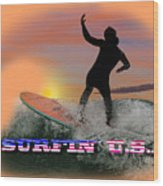 Surfing U.s.a. Wood Print