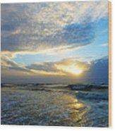 St. Augustine Beach Sunrise Surf Wood Print