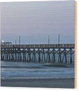 Surfside Beach Pier At Dawn Wood Print