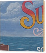 Surfside Beach Sign Wood Print