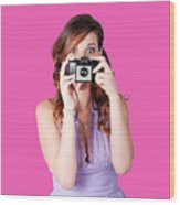 Surprised Woman Taking Picture With Old Camera Wood Print