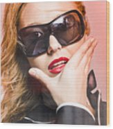 Surprised Young Woman Wearing Fashion Sunglasses Wood Print