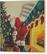 Surprising Santa Wood Print