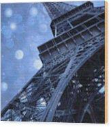 Surreal Blue Eiffel Tower Architecture - Eiffel Tower Sapphire Blue Bokeh Starry Sky Wood Print