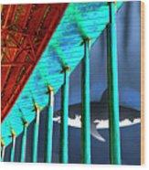 Surreal Bridge Shark Cage Wood Print