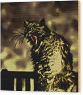 Surreal Cat Yawn Wood Print