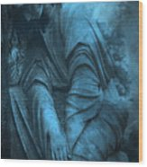 Surreal Cemetery Grave Mourner In Blue Sorrow  Wood Print