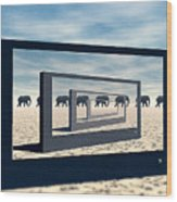 Surreal Elephant Desert Scene Wood Print