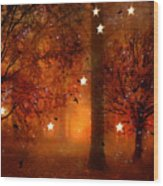 Surreal Fantasy Autumn Woodlands Starry Night Wood Print