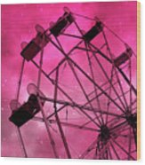 Surreal Fantasy Dark Pink Ferris Wheel Carnival Ride Starry Night - Pink Ferris Wheel Home Decor Wood Print