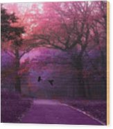 Surreal Fantasy Dark Pink Purple Nature Woodlands Flying Ravens  Wood Print