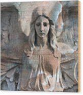 Surreal Fantasy Dreamy Angel Art Wings Wood Print by Kathy Fornal