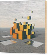 Surreal Floating Cubes Wood Print