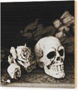 Surreal Gothic Dark Sepia Roses And Skull  Wood Print