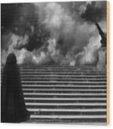 Surreal Gothic Infrared Black Caped Figure With Gargoyle On Paris Steps Wood Print