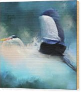 Surreal Stork In A Storm Wood Print