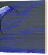 Surreal Surfing Blue Wood Print