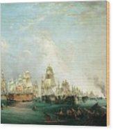 Surrender Of The Santissima Trinidad To Neptune The Battle Of Trafalgar Wood Print by Lieutenant Robert Strickland Thomas