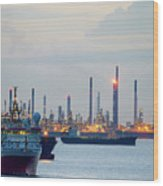 Survey And Cargo Ships Off The Coast Of Singapore Petroleum Refi Wood Print