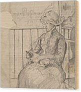 Susan On A Balcony Holding A Dog [recto] Wood Print