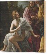 Susanna And The Elders Wood Print by Ottavio Mario Leoni