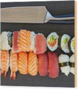 Sushi And Knife Wood Print