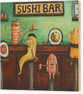 Sushi Bar Darker Tone Image Wood Print