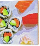Sushi Plate 6 Wood Print