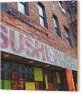Sushi Samba Sketch Wood Print