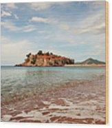 Sveti Stefan Beach Wood Print
