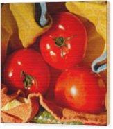 Swaddled Tomatoes Wood Print