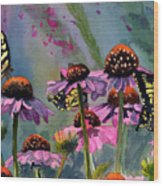 Swallowtails And Cone Flowers Wood Print