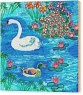 Swan And Duck Wood Print