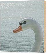 Swan Boat In The Lake Wood Print
