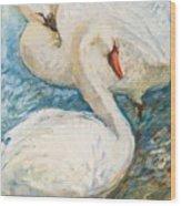 Swan Couple Wood Print
