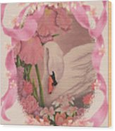 Swan In Pink Card Wood Print