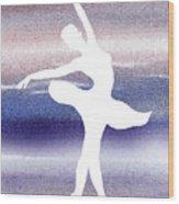 Swan Lake Ballerina Silhouette Wood Print