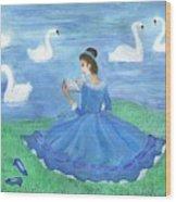 Swan Lake Reader Wood Print