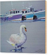 Swan Lake With Pleasure Boats Wood Print