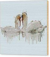 Swan Love Acrylic Painting Wood Print