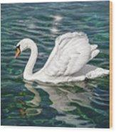 Swan On Lake Geneva Switzerland  Wood Print