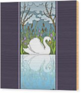 Swan On The River Wood Print