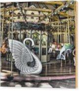 Swan Seat At The Carousel  Wood Print