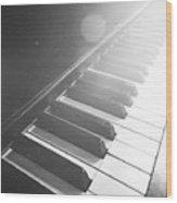 Swan Song Music Piano Keys Black And White Wood Print