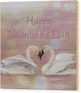 Swan Valentine Wood Print
