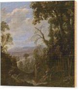 Swanevelt, Herman Van Woerden, 1603 - Paris, 1655 Landscape With Hermit Bound In Chains 1634 - 1639. Wood Print